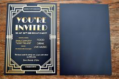Gatsby Party Invites This post may contain affiliate links. Please read my terms & conditions for more info.For my birthday I am having a . Roaring 20s Party, Gatsby Themed Party, 1920s Party, Great Gatsby Party, Gatsby Wedding, Gold Wedding, Prohibition Party, Birthday Invitations, Invites
