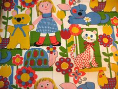 Vintage Children's Print 70s. We had this print on something! Can't remember what, but it sure brings back memories!