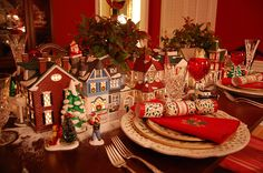 Use your Department 56 Snow Village pieces for a unique table setting.