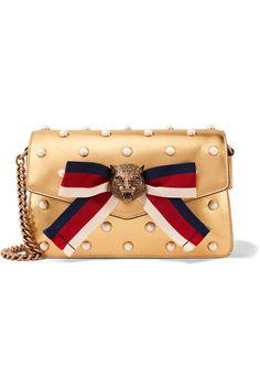 GUCCI Broadway embellished metallic leather shoulder bag