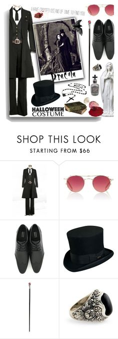 """""Listen to them, the children of the night. What music they make!"""" by johannamaria37 ❤ liked on Polyvore featuring Ryder, Garrett Leight, Vegetarian Shoes, Morgan, Scala, Pasotti Ombrelli, NOVICA, men's fashion, menswear and halloweencostumes"