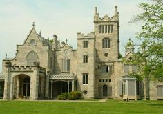 Lyndhurst, Tarrytown, Ny.  Sitting on a knoll with a lawn that stretches toward the mighty Hudson River, this Gothic Revival mansion was built in an early Gilded Age style. Designed in 1838 and expanded in 1865, its turrets and a four-story tower are a tribute to original architect Alexander Jackson Davis. Narrow hallways lead to rooms with vaulted ceilings and pointed arched windows. Now open to the public,