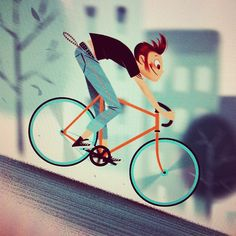 Creative Espinosa, Leo, Illustration, Www, and Studioespinosa image ideas & inspiration on Designspiration Bicycle Illustration, Art And Illustration, Character Illustration, Bike Poster, Poster S, Character Design References, Character Art, Illustrations Vintage, Graffiti