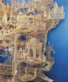 Creative art Scott Weaver used around toothpicks to make this mind blowing sculpture Toothpick Sculpture, Pusheen, Faeries, Mind Blown, Land Scape, Unique Art, Wood Art, Sculpture Art, Amazing Art
