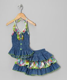 Take a look at this Lele Vintage Green Ruched Halter Top & Skirt - Toddler & Girls by Lele Vintage on #zulily today!