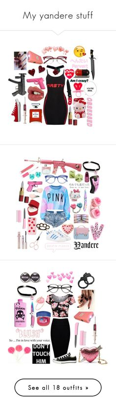 """My yandere stuff"" by supernova-1000 ❤ liked on Polyvore featuring Charlotte Tilbury, Blood Concept, Hello Kitty, Christian Louboutin, Ace, POLICE, Converse, Disney, Forever 21 and West Coast Jewelry"