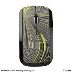 Abstract Yellow Warp Wireless Mouse