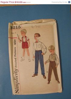 ON SALE 1950s Simplicity Pattern 3215 Boys Shirt by VendageTresors