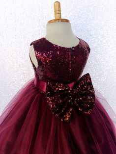Chic Formal Burgundy Sequence Fishing Line 2 Layer Gown Satin Sash Pageant Birthday Holiday Christmas Wedding Junior 2 4 6 8 10 12 14 Sequin African Dresses For Kids, Gowns For Girls, Frocks For Girls, Kids Frocks, Girls Dresses, Gold Flower Girl Dresses, Baby Girl Party Dresses, Little Girl Dresses, Baby Dress Design