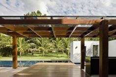 Massive modern pergola. Open and protected from the weather at the same time.