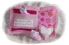 Eulen Baby - Kissen - Set  - Namenkissen - Geburt von Antjes Design auf DaWanda.com