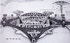 Paolo Soleri's Arcosanti,   Early Architectural Drawing.