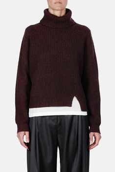 Proenza Schouler — Wool Cashmere Rib Ls Step Hem Turtleneck Sweater Aubergine — THE LINE