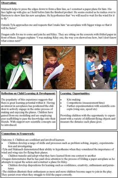 ECE learning stories free template - Google Search