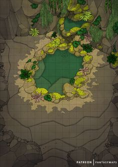 Light enters the cave through an opening in the ceiling, and illuminates the areas surrounding the emerald green water pond. Tabletop Rpg, Tabletop Games, Dnd World Map, Forest Map, Classic Rpg, Building Map, Rpg Map, Map Pictures, Dnd Art