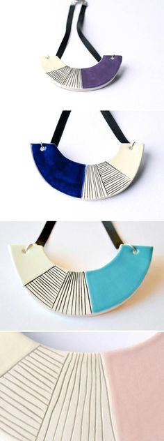Blue statement necklace, ceramic jewelry, chunky bib necklace, geometric jewelry, gift for her