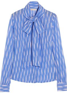 MICHAEL Michael Kors Printed georgette pussy-bow blouse on shopstyle.com
