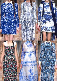 Paris Fashion Week   Autumn/Winter 2013/14   Valentino A/W 2013/14 Delftware Inspired – Bouquet Arrangements – Tonal Blue Palettes – Opulent Border Schemes – Tapestry and Wallpaper Looks