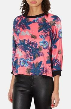 Look at the orchids! Satin sweatshirt by Topshop