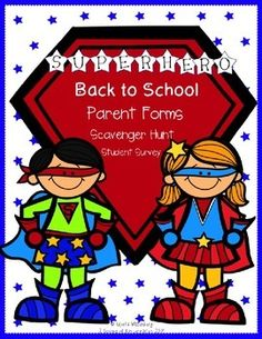 Back to School Parent Forms (Editable) Superhero theme! Be ready for a SUPER year!