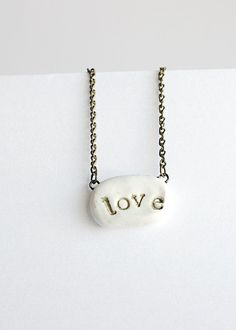 Love Pendant Necklace White Polymer Clay by ForestDaydream on Etsy