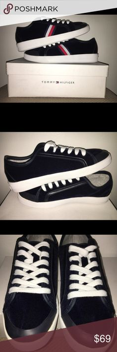 Tommy Hilfiger Sneakers Tommy Hilfiger Blue Sneakers || Size 8.5 || Suede Material || BRAND NEW WITH BOX || Dark Blue but looks Black in the picture || Tommy Hilfiger Shoes Sneakers