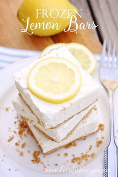 Frozen Lemon Bars | These creamy no-bake lemon bars are the perfect balance of sweet and tart. So easy to make, they're a perfect summer dessert.