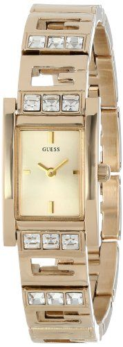 GUESS Women's U0200L2 Yellow Gold-Tone Iconic Logo Watch