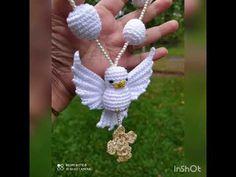 mini terço espírito santo amigurumi - YouTube Crochet Art, Macrame, Diy And Crafts, Crochet Earrings, Religion, Owl, Christmas Ornaments, Holiday Decor, Youtube