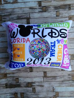 Cheerleading Worlds 2013 Pillowcase by Justcheerbows on Etsy, $36.95