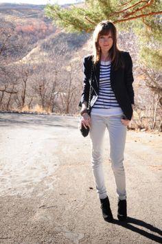 winter stripes. thread ethic, great modest fashion blog >> striped shirt!