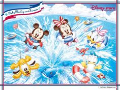 Mickey and Minnie Babies and Friends: Free Printable Frames, Invitations or Cards.