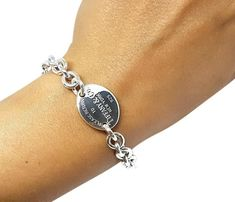 """95a246f46 $236 TIFFANY & CO. PLEASE RETURN TO CO OVAL TAG 7.5 """" BRACELET Authentic  guaranteed. SmartShop Jewelry"""