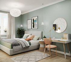 Bedroom Wall Colors, Room Ideas Bedroom, Home Decor Bedroom, Living Room Decor, Sage Green Bedroom, Interior Design Living Room, Room Inspiration, Scandinavian Style, Sweet