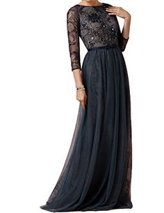 ed00a8aa19 PromStar Womens Chiffon Beaded Mother of the Bride Formal Dresses with  Sleeves 3MD Black 14 -