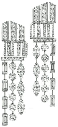Symphony Earrings from Cafe Society - Chanel fine jewelry collection in 18K white gold set with 26 fancy cut diamonds (4.9 cts) and 132 brilliant cut diamonds (1.5 cts) - July 2014