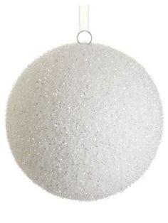 "XM1005-WH ~~  8"" Glittered Ball Ornament"