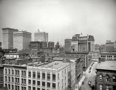 "Detroit circa 1917. ""Looking northwest from roof of interurban station."" Landmarks here include the Hotel Pontchartrain, Ford Building and Dime Savings Bank. 8x10 inch glass negative, Detroit Publishing Co."