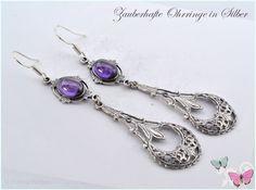 Ohrhänger - Vintage Ohrhänger 925 Silber lila violett Glas - ein Designerstück von Zauberhafte-Ohrringe-in-Silber bei DaWanda