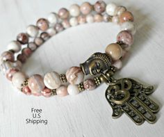 Protection, Crazy lace Agate, Buddha bracelet, Yoga set of 2, Hamsa, Om, mala bracelet, om bracelet, mala set, Om mala, Reiki charged