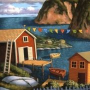 East is on x 30 inches Acrylic Artwork, Cabin Ideas, Newfoundland, Art Designs, Oil On Canvas, Coastal, Artists, Quilts, House Styles