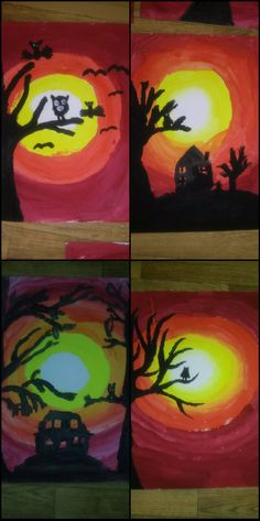 halloween, noc, měsíc, tma, tempery, výtvarná výchova Tempera, Halloween, Painting, Painting Art, Paintings, Painted Canvas, Drawings, Spooky Halloween