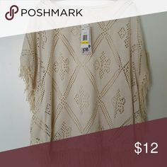 NWT! CREAM BOHO Layered Top Cream/off white, light weight two layer loose fit top.  Cut out design, fringe sides and bottom. Tops Tunics