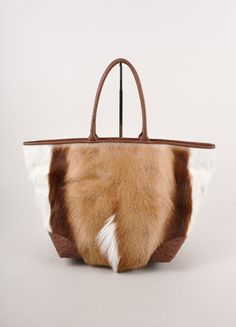 "Brown and White Ostrich Leather and Springbok Hair ""Nina"" Box Tote Bag"