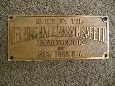 Vintage Herring Hall Marvin Safe Co Brass Nameplate