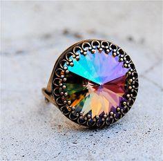 "Swarovski Crystal Ring - Crown Victorian - Monet's ""Warter Lily Pond"" Crystal and Antiqued Brass Adjustable Ring"