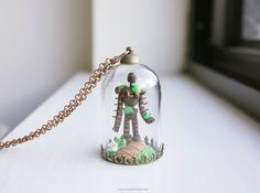 Miniature Laputa Guardian Terrarium Collier - Collier de globe de verre cloche de verre, le studio ghibli château dans le ciel, bijoux anime de hayao miyazaki