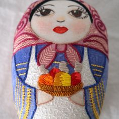 Betina mixed-media matryoska doll with fruits by Gineceo on Etsy