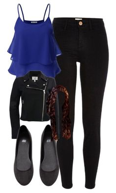 Katherine Pierce Inspired Outfit by mytvdstyle featuring black leggings Sleeveless top, / Moto jacket, / River Island black legging, / H&M flat shoes, Bar Outfits, Outfits For Teens, Casual Outfits, School Looks, Katherine Pierce Outfits, Vampire Diaries Outfits, Night Out Outfit, Pub Outfit, Pants Outfit