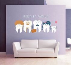 Teeth wall decal tooth wall decal family dentist dental clinic wall decal Orthodontist Dentist wall decal Dentist Office Wall Decor - All About Oral Care 2020 Dental Clinic Logo, Dentist Clinic, Pediatric Dentist, Dental Art, Dental Office Design, Design Offices, Modern Offices, Cabinet Medical, Dental Office Decor